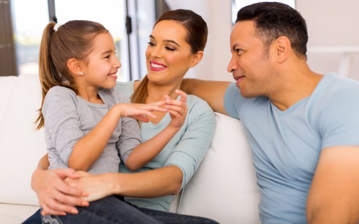 relaxed family spend quality time together at home